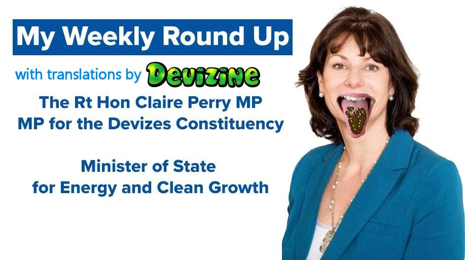 """Claire Perry's """"weekly-round-up"""" email; with translations (inbrackets)"""