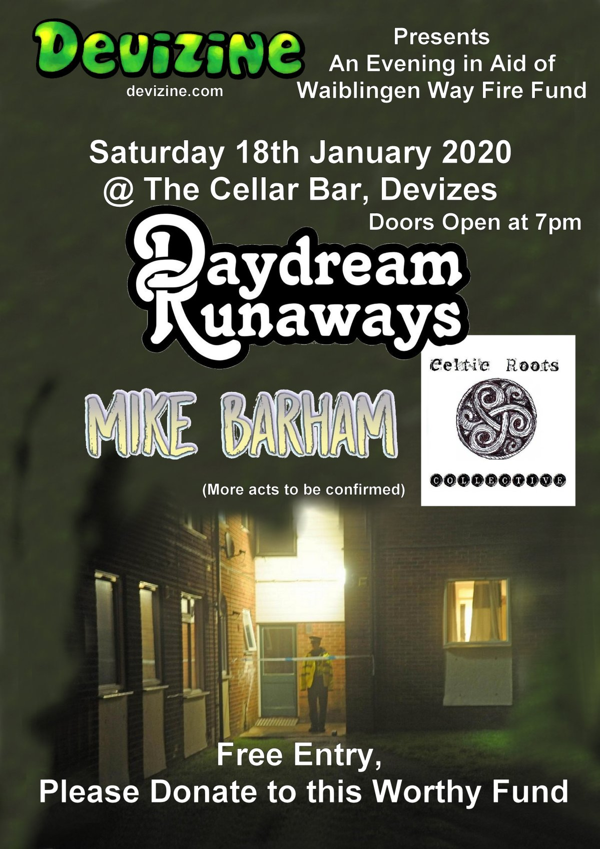 Devizine Presents Daydream Runaways, Mike Barham, the Celtic Roots Collective and a special guest in Aid of the Waiblingen Way FireFund