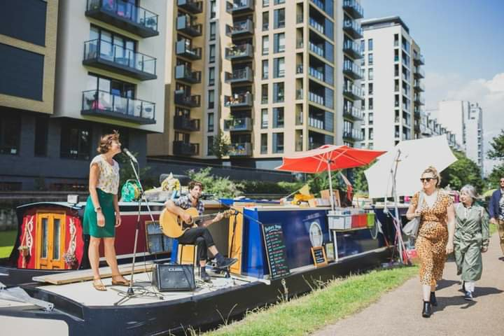 Floating Record Shop Moored on Kennet &Avon