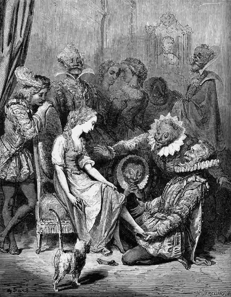 The fitting with the prince onlooking, illustration in Les Contes de Perrault by Gustave Doré, 1862