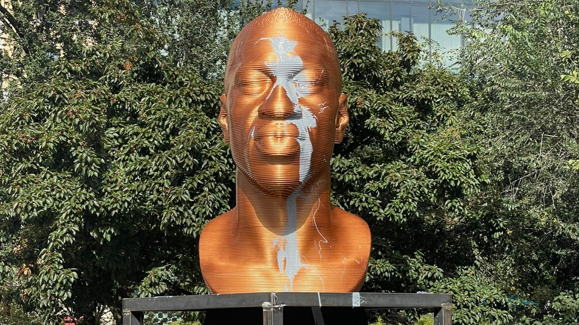 George Floyd Statue, Defaced, Because, of Course, That's the First Time Anyone Made a Statue of Someone Who Committed a Crime…..?!